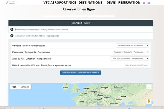 Module de réservation VTC Aéroport Nice